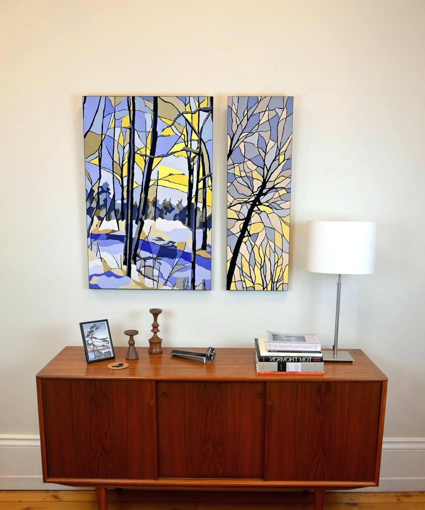 2017 Wall Arts ~ 2 Panel Wall Art Stained Glass Yellow And Blue Winter Regarding Ottawa Canvas Wall Art (View 1 of 15)
