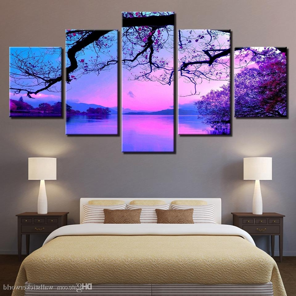 2018 2018 Canvas Wall Art Paintings Living Room Home Decor Framework Throughout Canvas Wall Art In Purple (View 1 of 15)