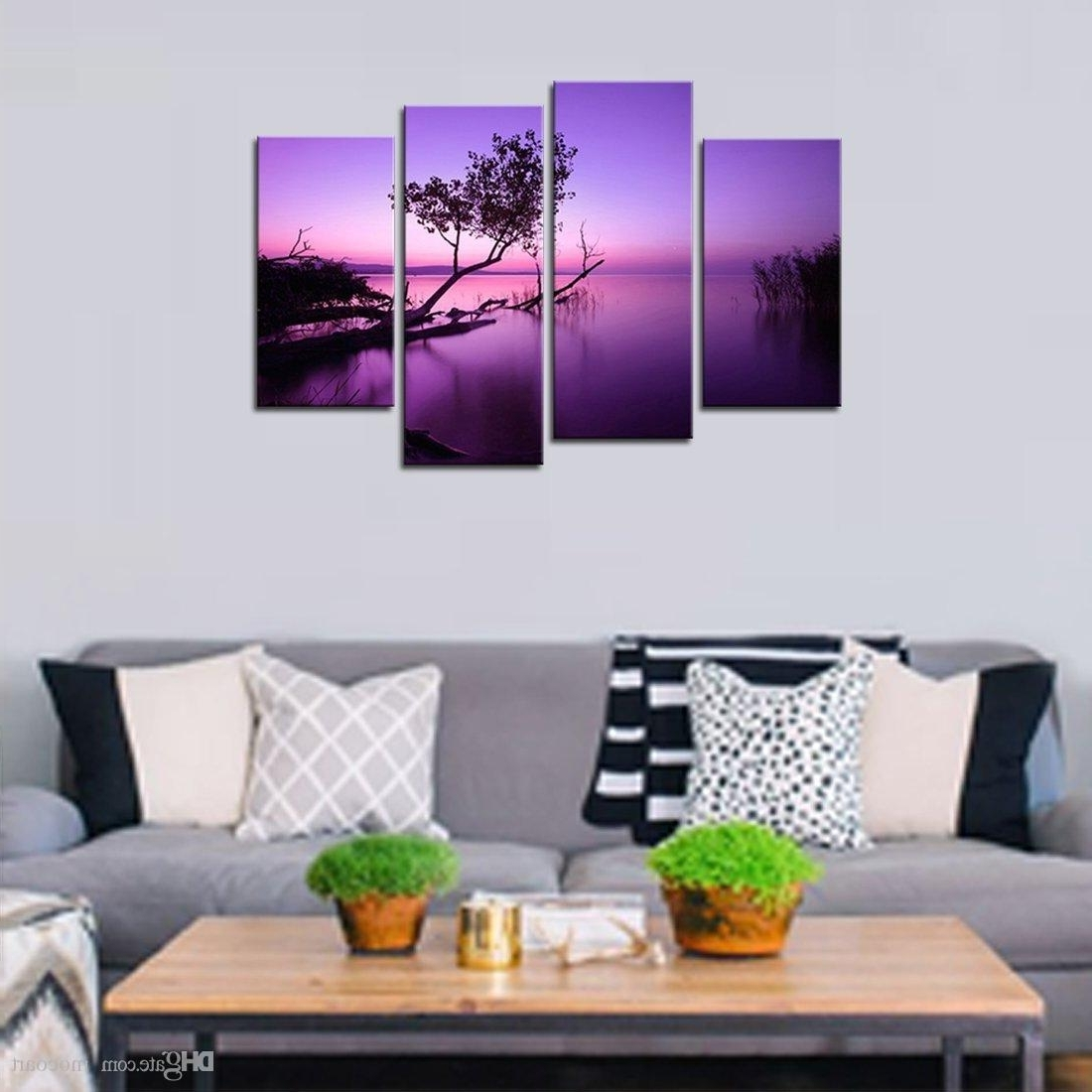 2018 2018 Canvas Wall Art Purple Lake Tree Painting Picture Landscape Intended For Canvas Wall Art In Purple (View 2 of 15)