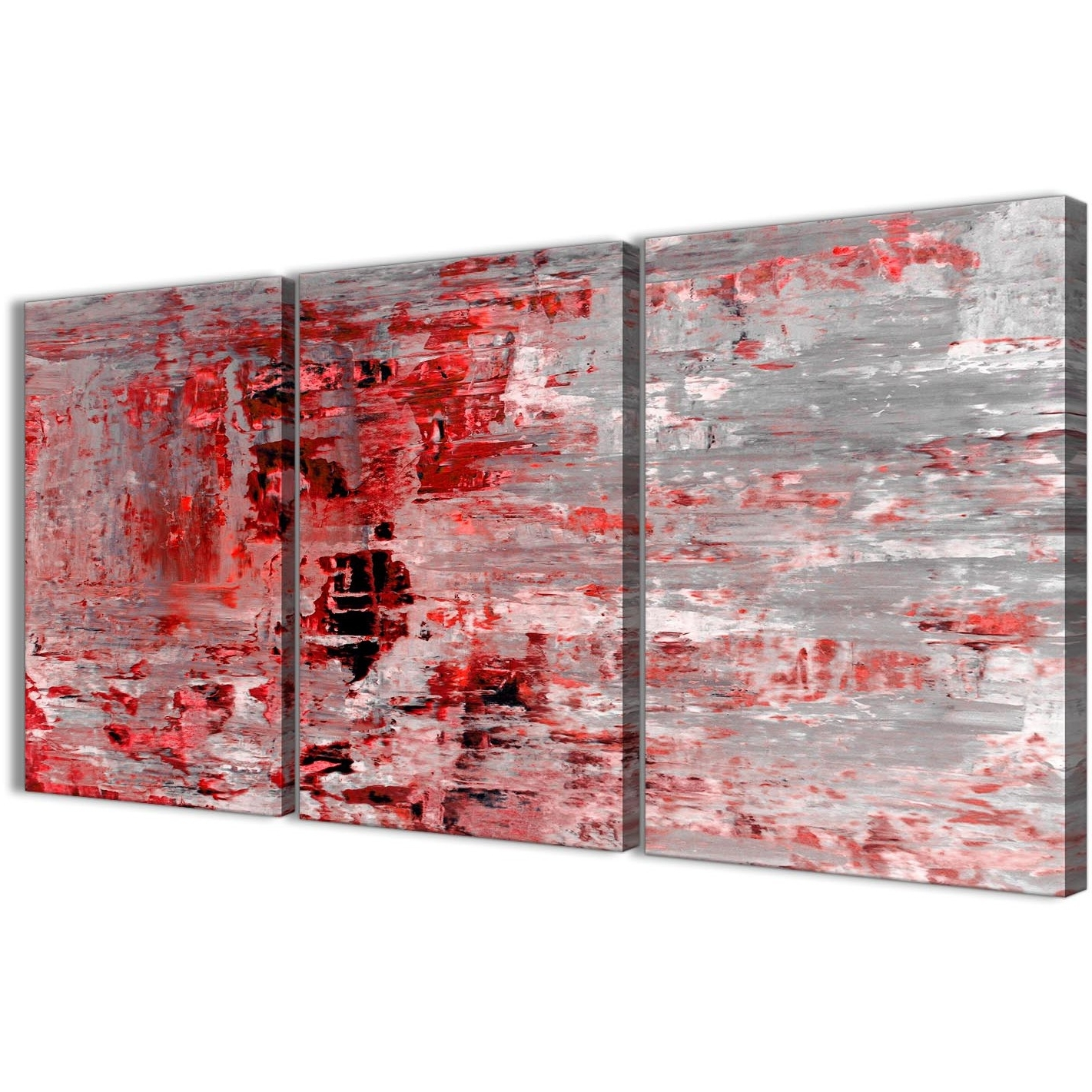 2018 3 Piece Red Grey Painting Living Room Canvas Wall Art Decor Within Kitchen Canvas Wall Art (View 2 of 15)