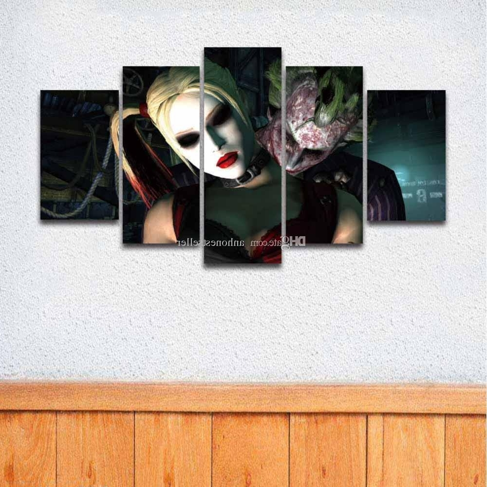 2018 5 Panel Canvas Wall Art Prints Joker Painting For Wall Decor Pertaining To Most Recently Released Joker Canvas Wall Art (View 3 of 15)