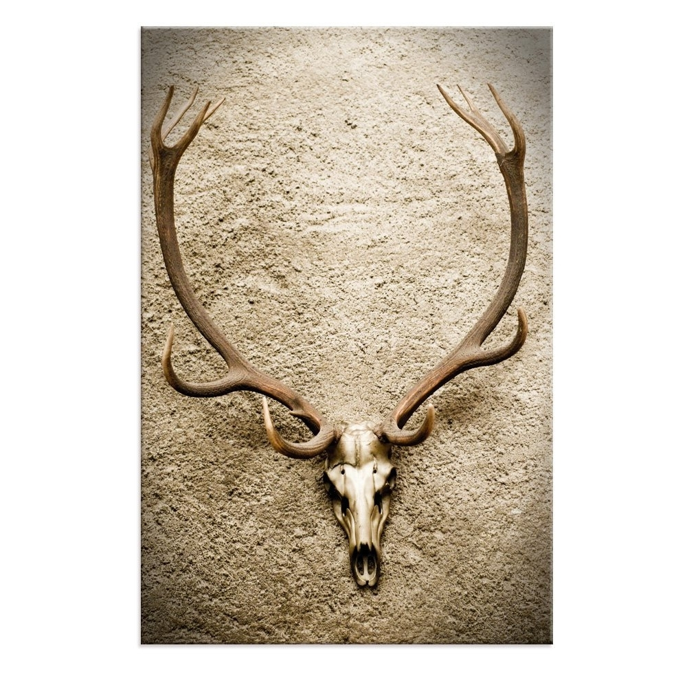2018 Amazon: Large Animal Skull Painting Prints Art For Wall,deer In Deer Canvas Wall Art (Gallery 9 of 15)