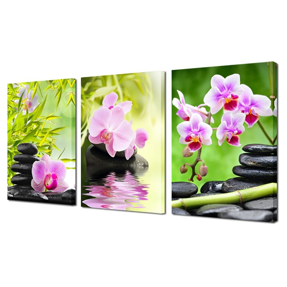 2018 Art Wall Decor Canvas Painting Orchid Flower Bamboo Stone 3 Pieces Regarding Orchid Canvas Wall Art (View 14 of 15)