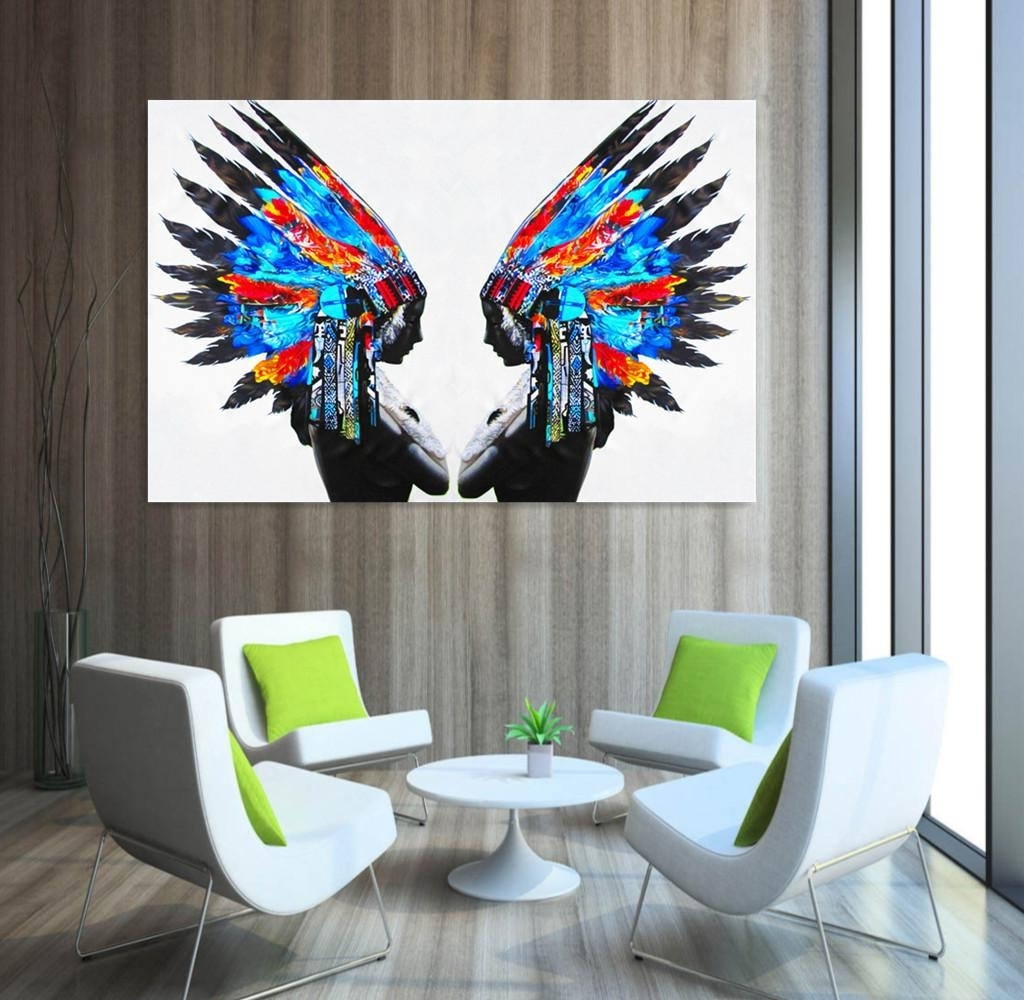 2018 Blue Feather Portrait Painting Native American Indians Oil Pertaining To Latest Portrait Canvas Wall Art (View 13 of 15)
