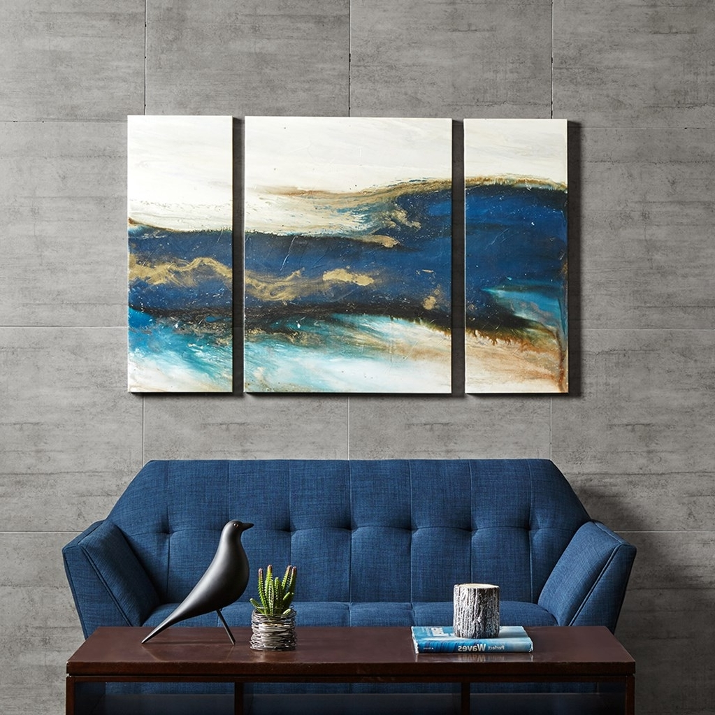 2018 Blue & Gold Brush Stroke Abstract Canvas Wall Art Intended For Blue Canvas Wall Art (Gallery 5 of 15)