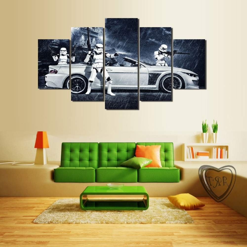 2018 Bmw Canvas Wall Art Within Framed) 5 Pieces Star Wars Assault Vehicle Bmw Modern Home Wall (View 3 of 15)