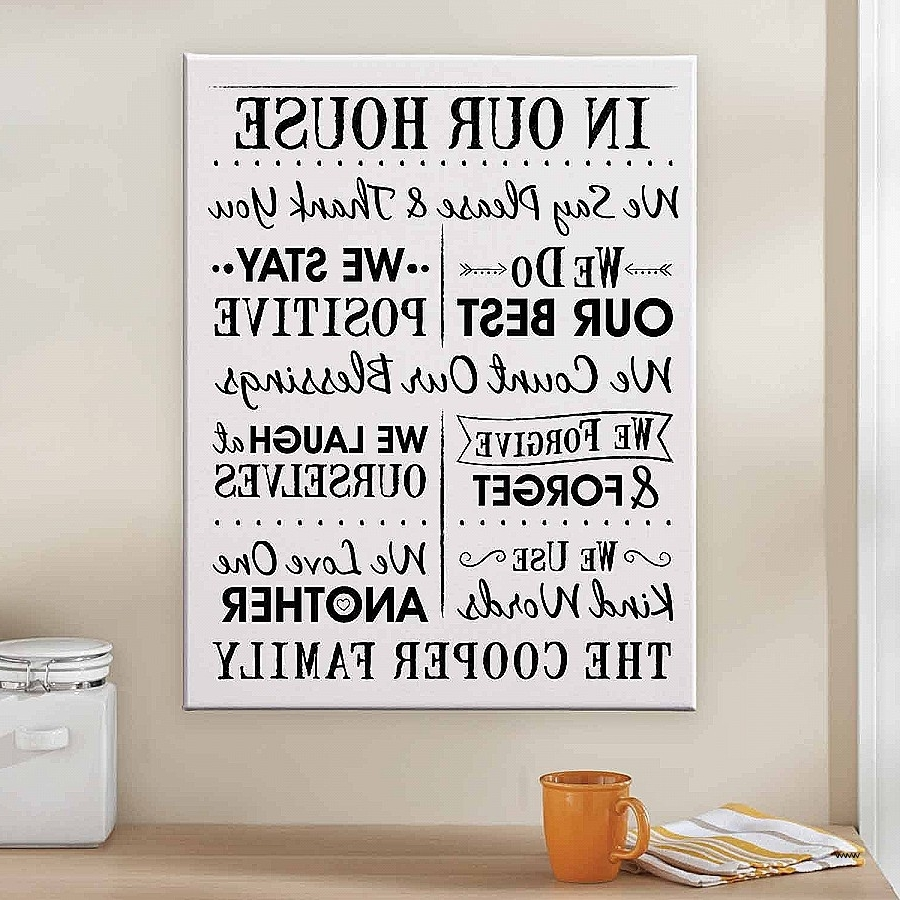 2018 Canvas Wall Art Family Rules With Family Rules Canvas Wall Art Inspirational Personalized Our House (View 1 of 15)