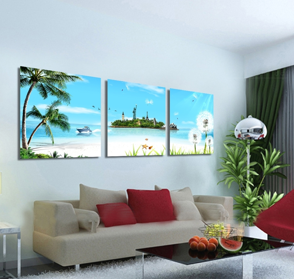 2018 Canvas Wall Art In Australia With Regard To 2017 Hot Sale Limited 3 Pieces Wall Art Modern Waterfall Landscape (Gallery 10 of 15)
