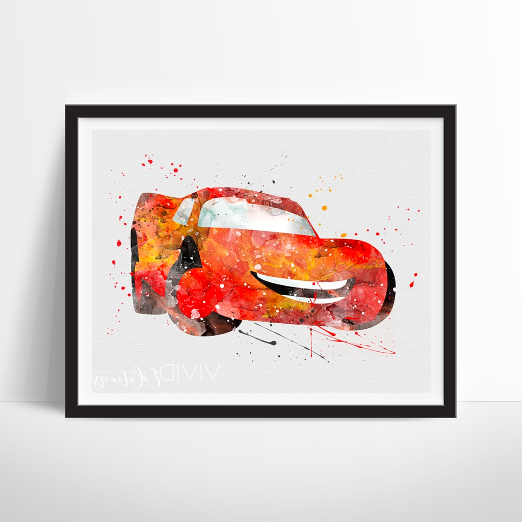 2018 Cars Theme Canvas Wall Art In Lightning Mcqueen, Cars Movie Disney Pixar Watercolor Art Print (View 3 of 15)