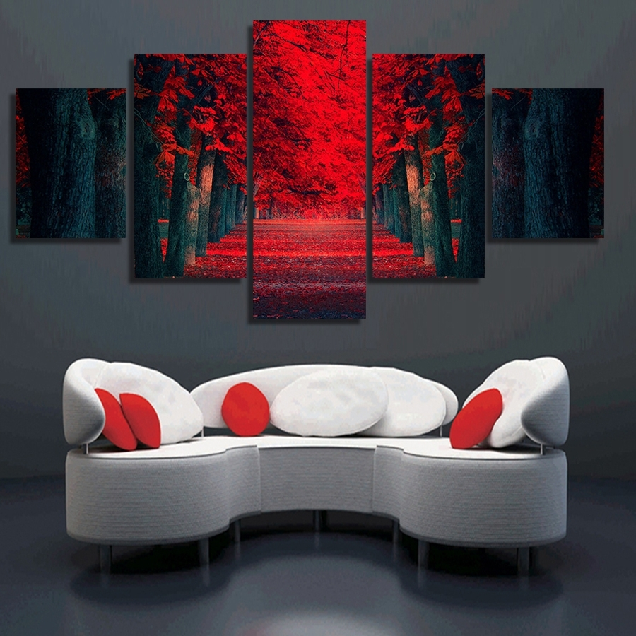 2018 Clstrose 5 Pcs Wall Art Beautiful Red Forest Modern Wall Painting With Regard To Modern Canvas Wall Art (View 2 of 15)