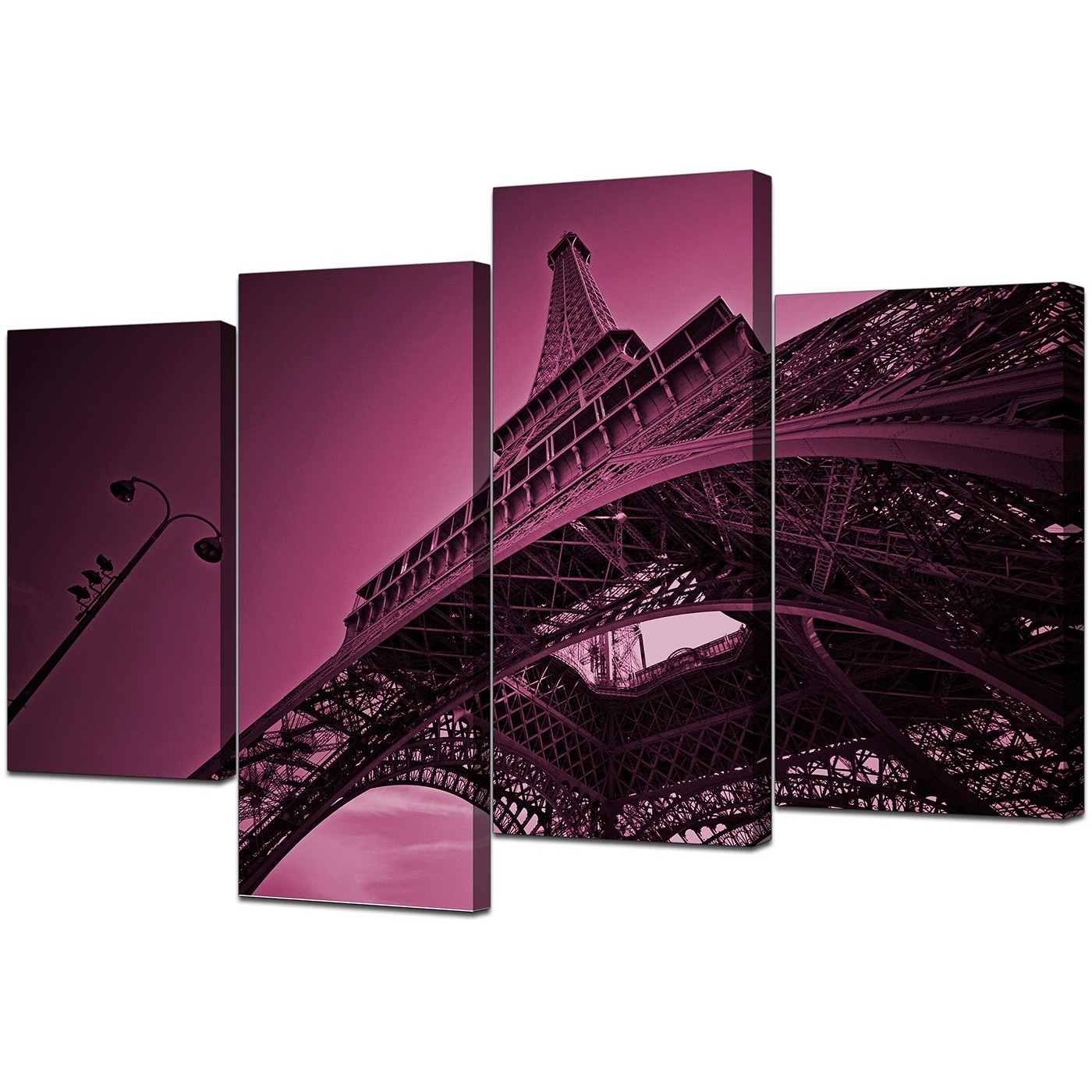 2018 Eiffel Tower Canvas Wall Art In Plum – For Bedroom Within Eiffel Tower Canvas Wall Art (Gallery 10 of 15)