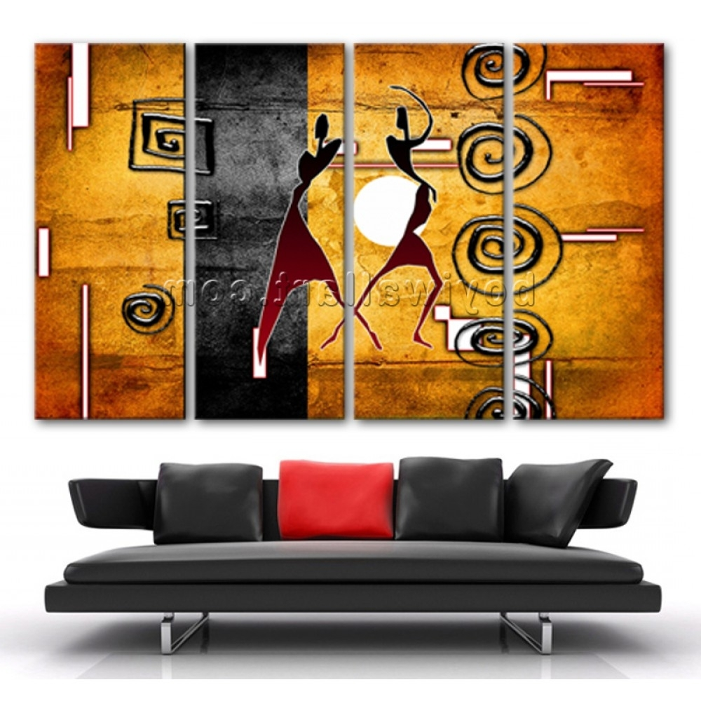 2018 Ethnic Canvas Wall Art With Extra Large African Motive Ethnic Retro Vintage Figure On Canvas (View 1 of 15)