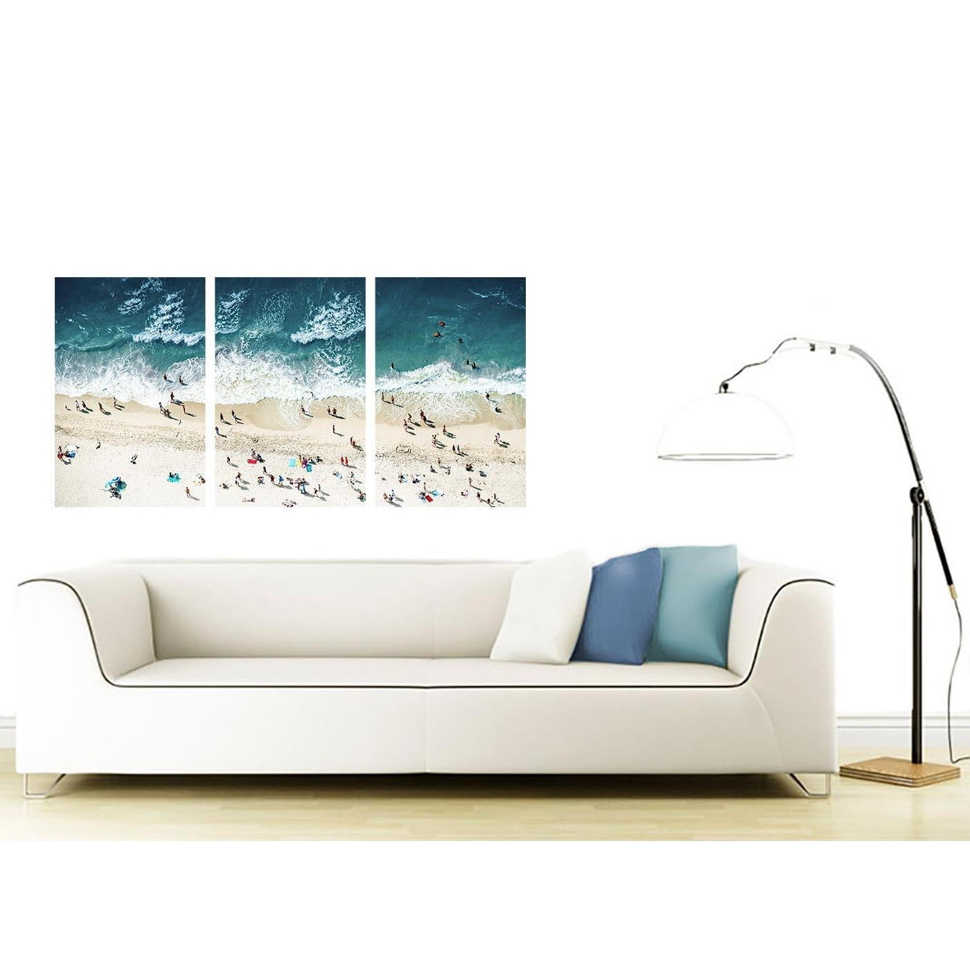 2018 Gold Coast Canvas Wall Art Within Panoramic Blue Beach – Landscape Canvas Multi 3 Panel – 125cm Wide (View 8 of 15)