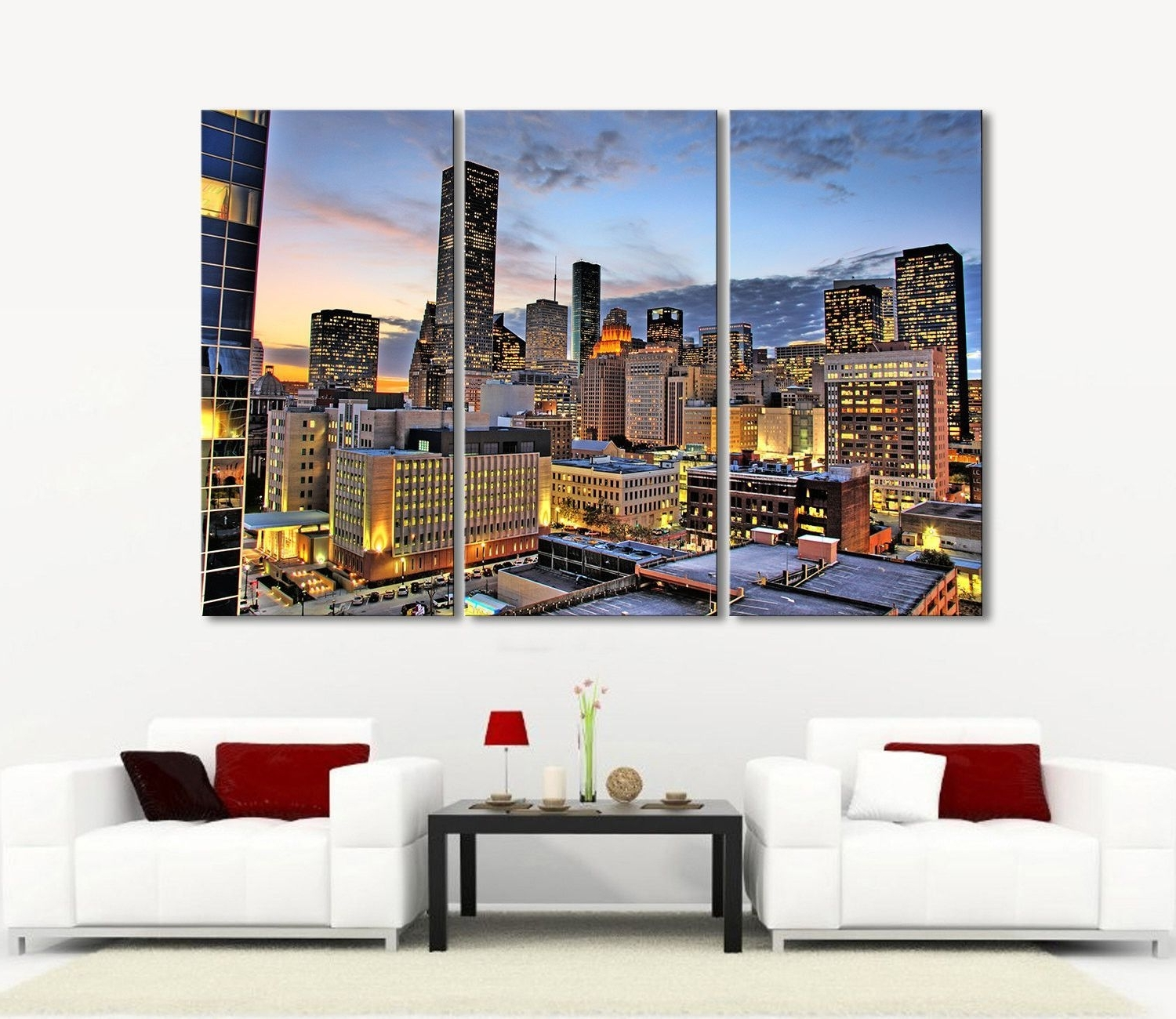 2018 Houston Canvas Wall Art Within Large Wall Art Canvas Prints Houston Night Landscape Canvas Print (View 2 of 15)