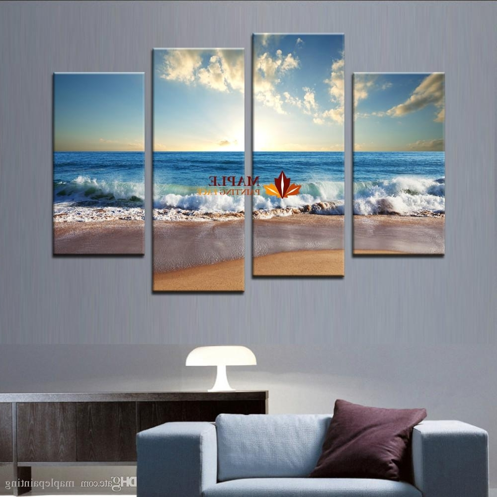 2018 Large Canvas Art Wall Hot Beach Seascape Modern Wall Painting With Regard To Well Liked Modern Canvas Wall Art (View 12 of 15)
