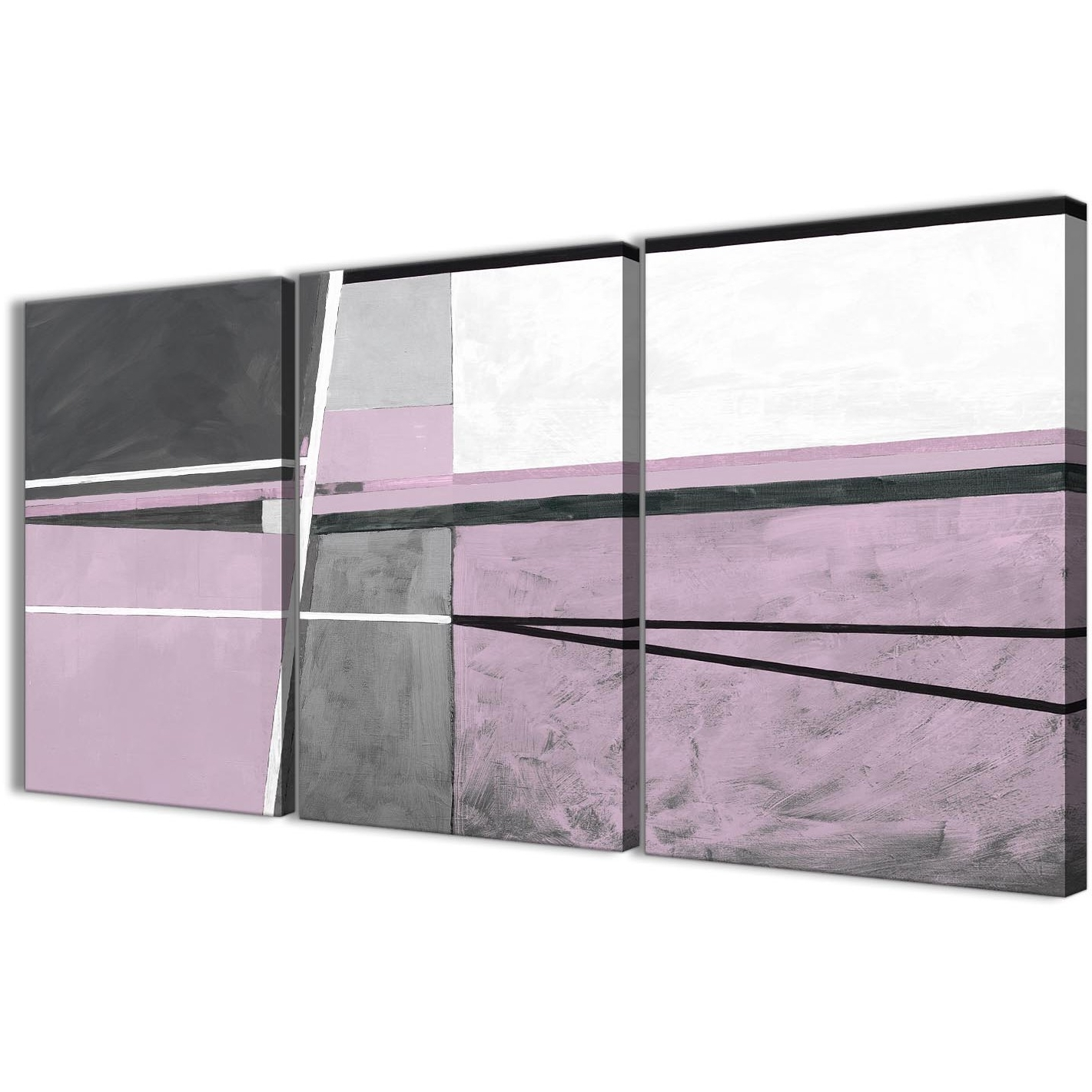 2018 Lilac Canvas Wall Art Inside 3 Panel Lilac Grey Painting Kitchen Canvas Wall Art Accessories (View 1 of 15)