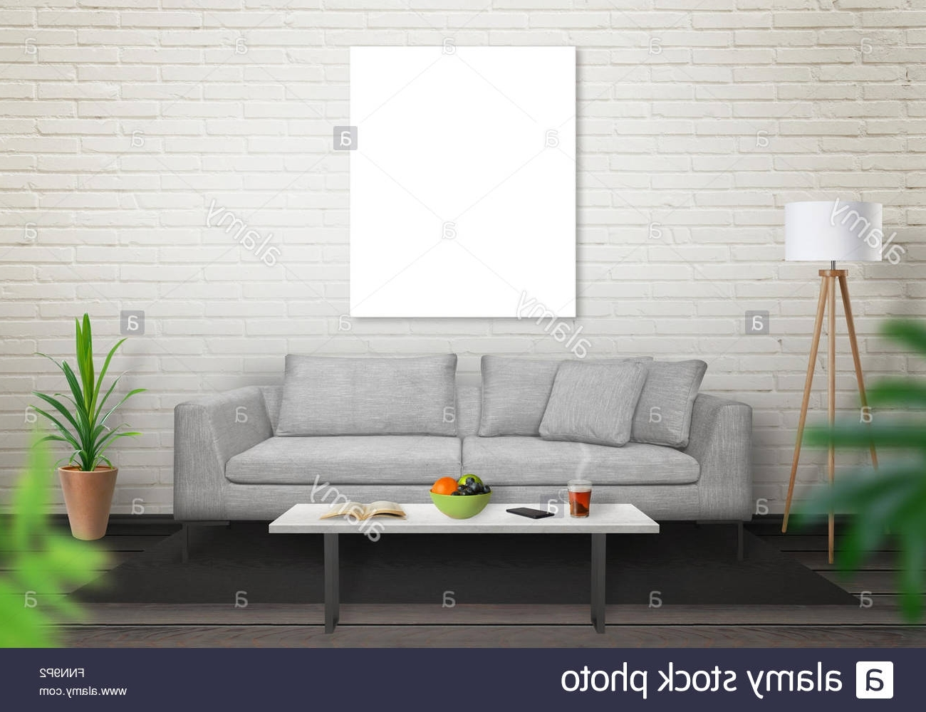 2018 Mockup Canvas Wall Art Within Isolated Art Canvas In Living Room For Mockup (View 3 of 15)