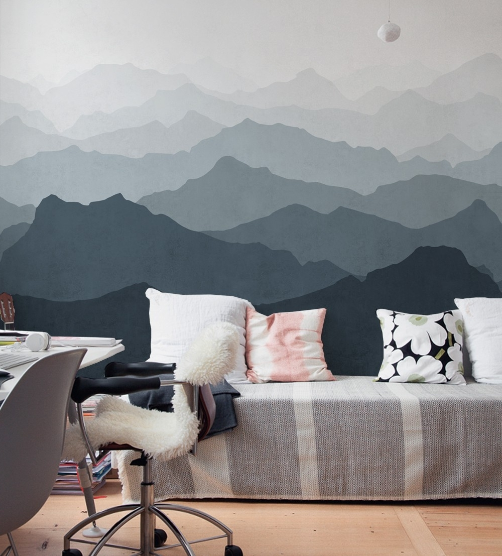 2018 Mountain Mural Wall Art Wallpaper – Peel And Stick In Wallpaper Wall Accents (View 1 of 15)