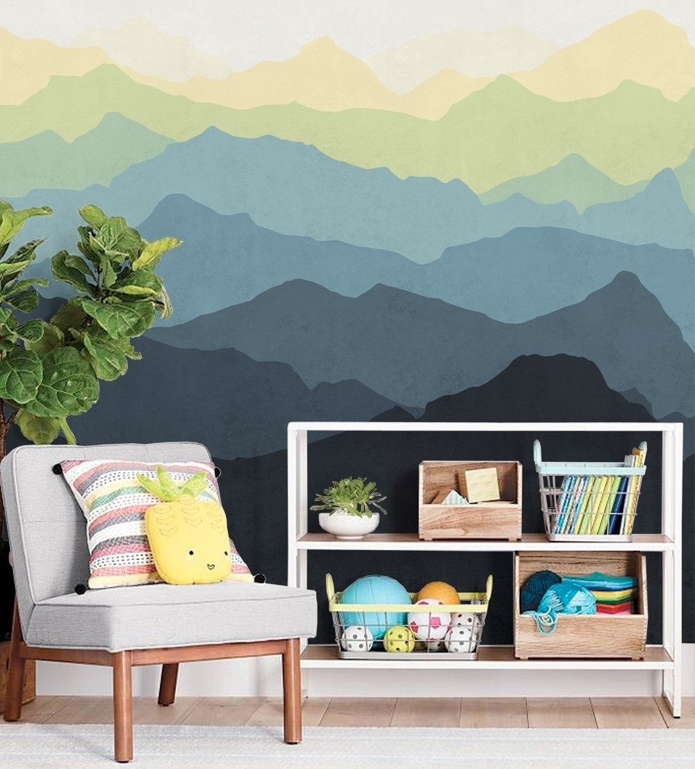 2018 Murals Wall Accents Regarding Mountain Mural Wall Art Wallpaper – Peel And Stick (View 1 of 15)