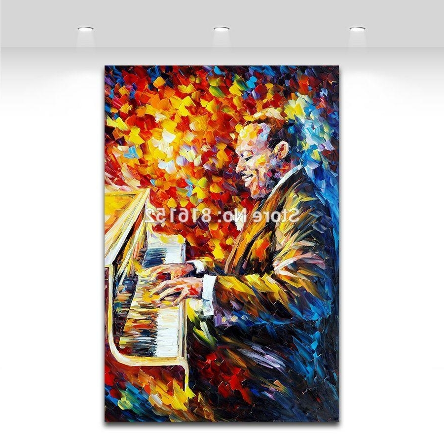 2018 Palette Knife Painting Jazz Music Figure Trumpet Guita Soul Pertaining To Recent Jazz Canvas Wall Art (View 2 of 15)