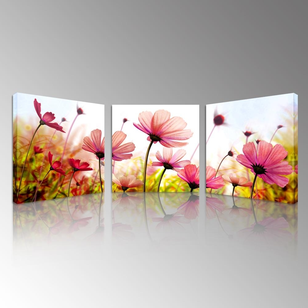 2018 Pink Recollections Canvas Prints Beautiful Flowers Picture For Recent Canvas Wall Art Of Flowers (View 1 of 15)