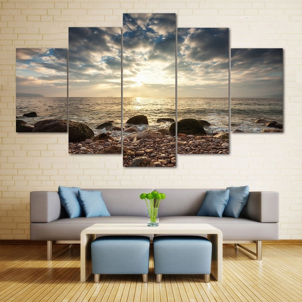 2018 Sea Stone Beach Split Canvas Prints Wall Art Paintings With Regard To Famous Beach Canvas Wall Art (View 2 of 15)