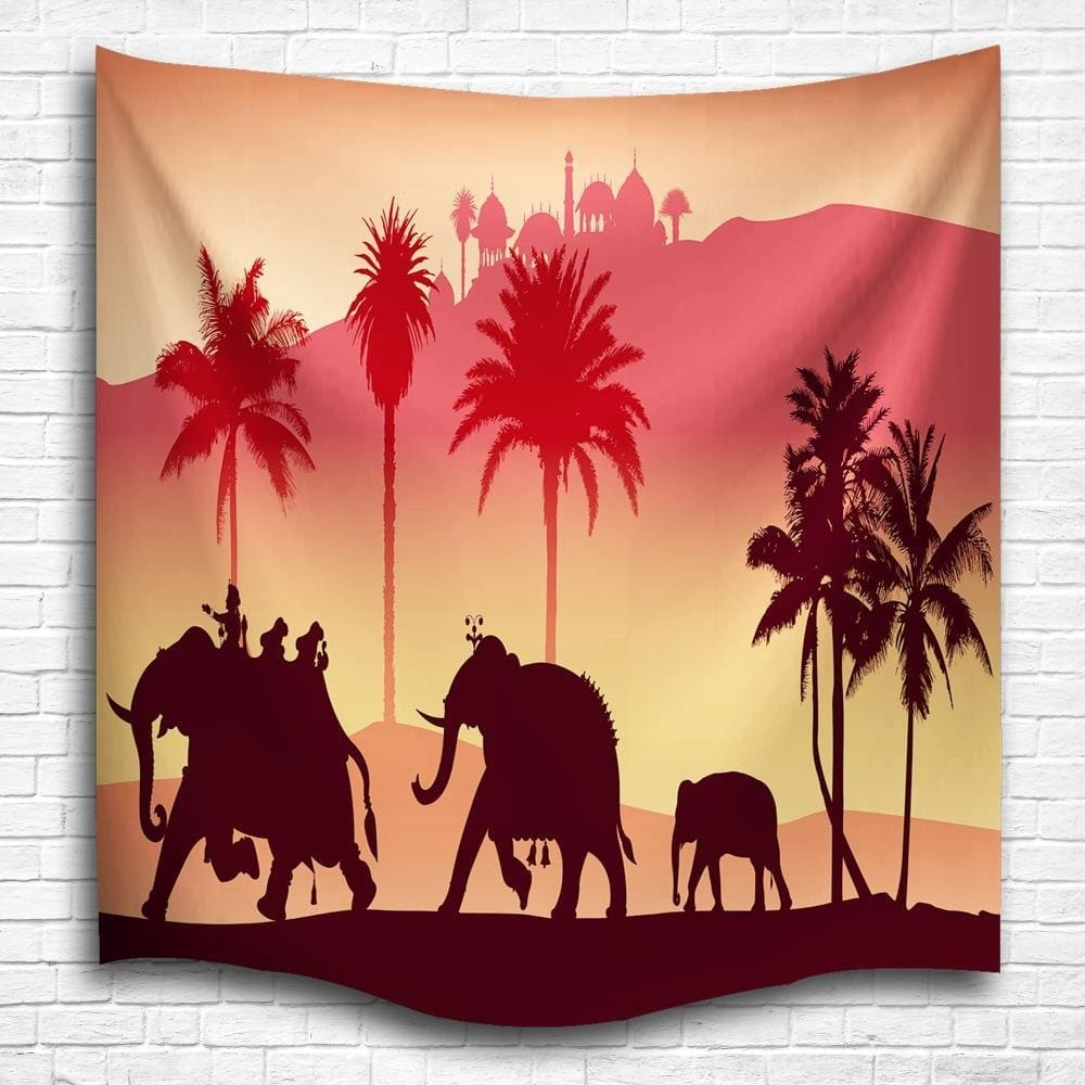 2018 Silhouette Elephants 3d Digital Printing Home Wall Hanging Pertaining To Widely Used Fabric Animal Silhouette Wall Art (View 5 of 15)