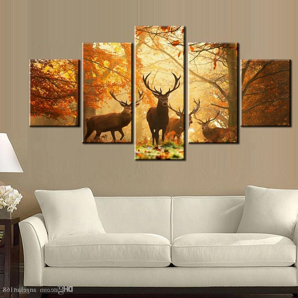 2018 Sunset Golden Deer Wall Art Oil Painting On Canvas No Frame In 2017 Deer Canvas Wall Art (Gallery 8 of 15)