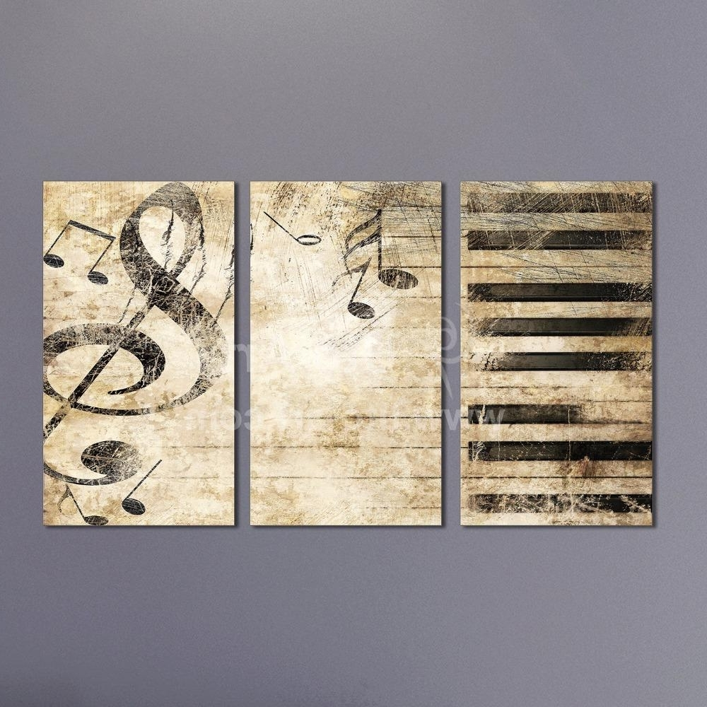 2018 Triptych Custom Multiple Panel Canvas Painting Piano Music Pertaining To Most Up To Date Music Canvas Wall Art (View 3 of 15)