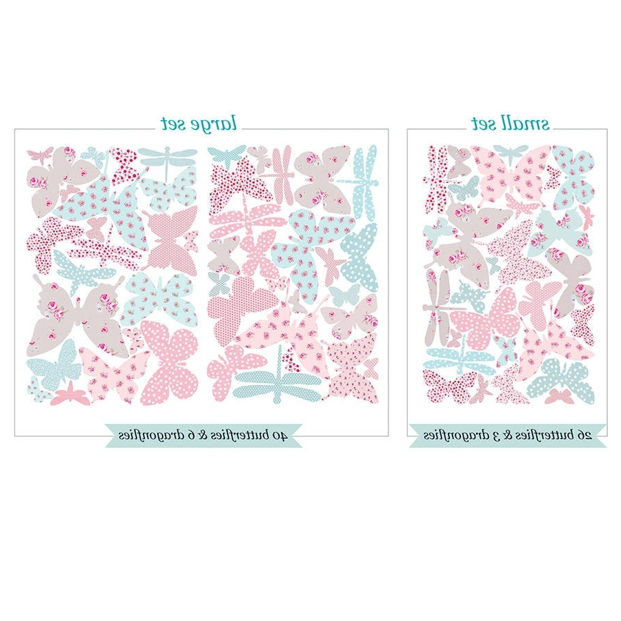 2018 Vintage Floral Butterfly Fabric Wall Stickerskoko Kids Throughout Fabric Butterfly Wall Art (View 7 of 15)