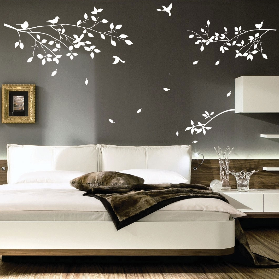 2018 Wall Accents For Grey Room With Decorations : White Tree Wall Art Decoration Ideas On Grey Wall (View 1 of 15)
