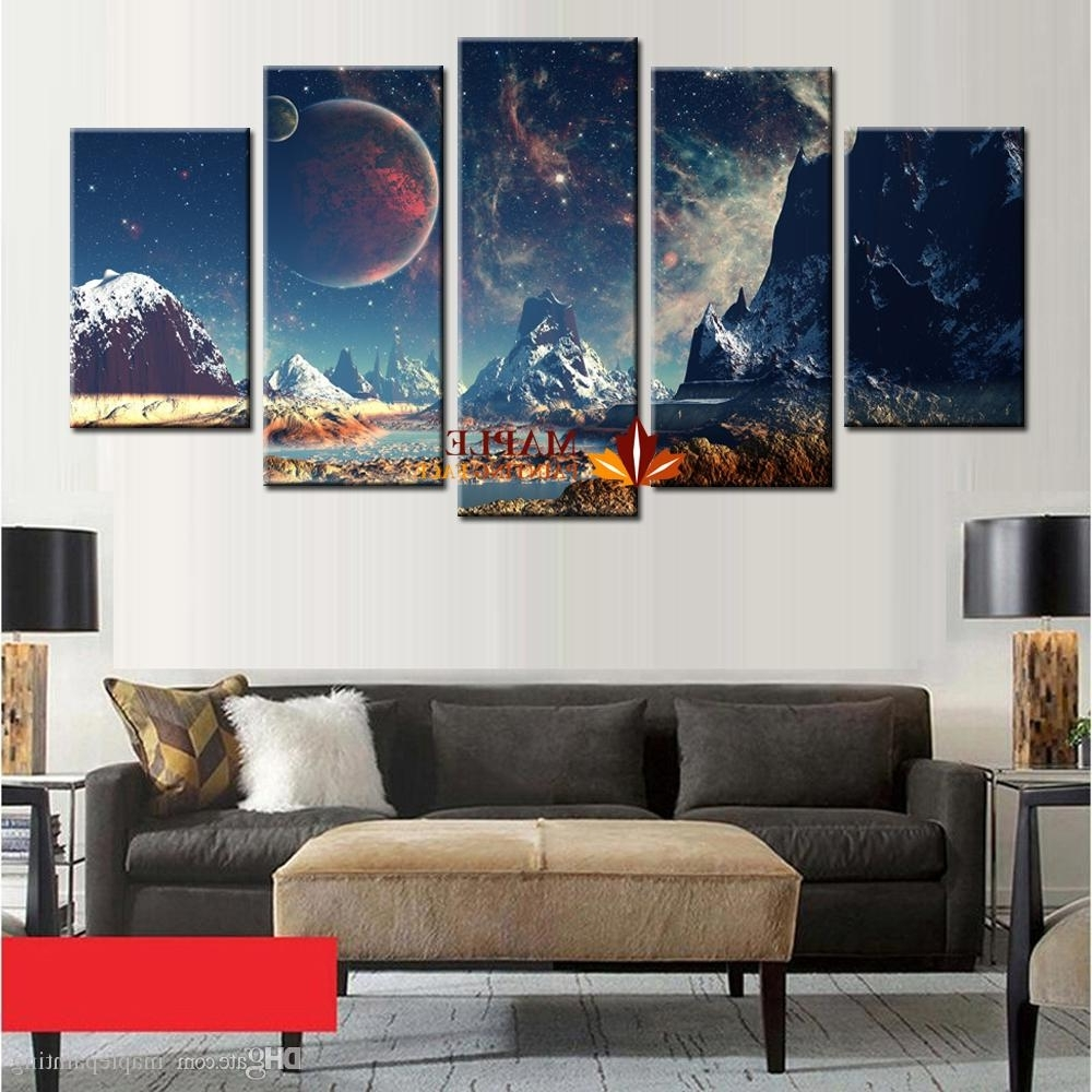2018 Wholesale Canvas Set Mountains And Space Photos Printed On Throughout 2017 Mountains Canvas Wall Art (Gallery 4 of 15)