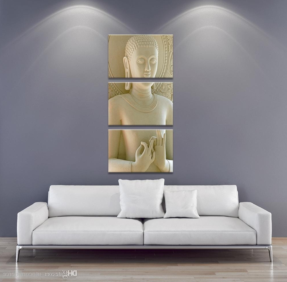 3 Panel Modern Buddha Painting Art White Marble Buddha Vertical Inside Famous Dubai Canvas Wall Art (Gallery 6 of 15)