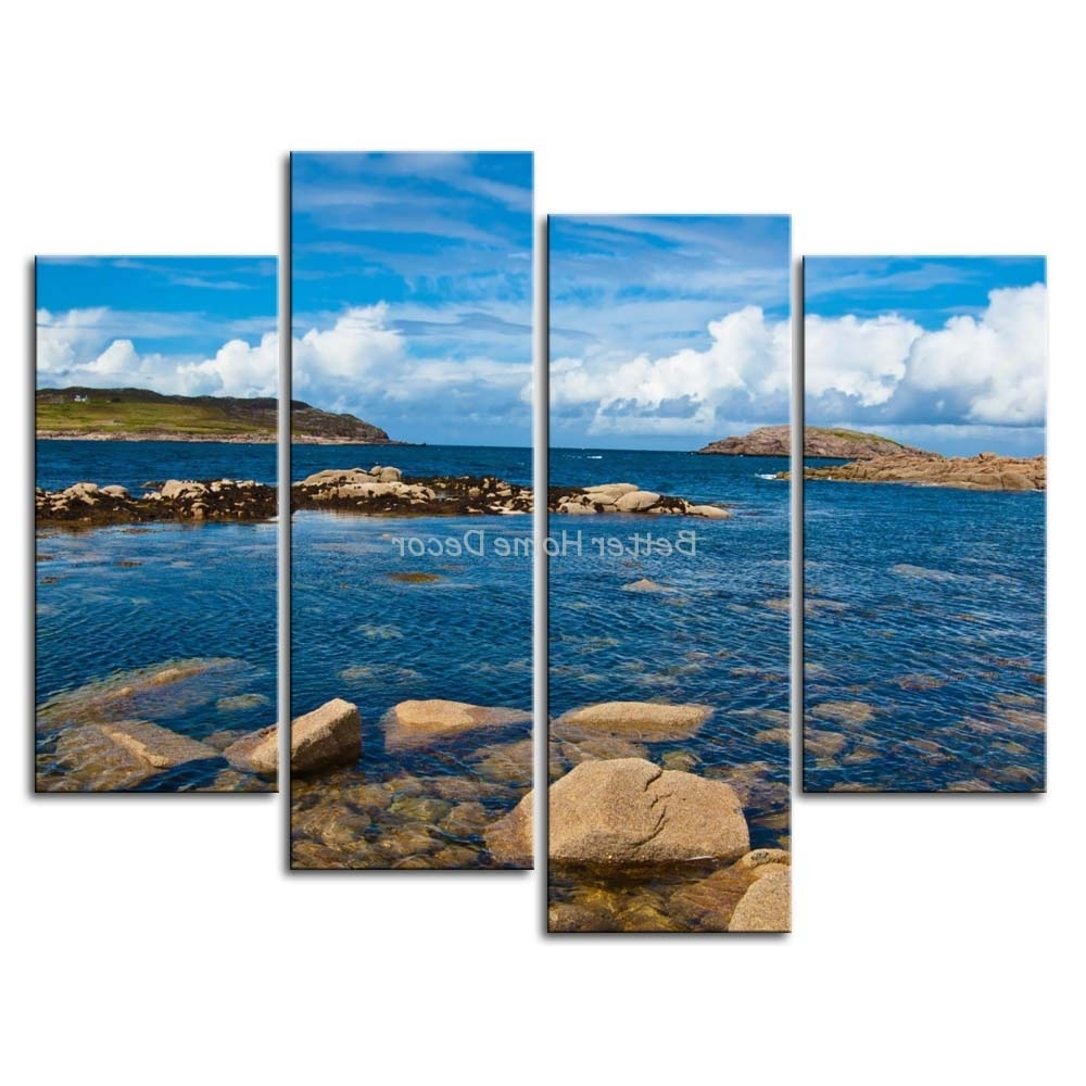 3 Piece Blue Wall Art Painting Cruit Island Ireland Clear Water Regarding Most Current Ireland Canvas Wall Art (Gallery 15 of 15)