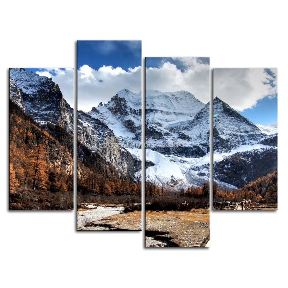 3 Piece Wall Art Painting Snowy Mountains Yellowing Trees Gallery Inside Famous Mountains Canvas Wall Art (View 3 of 15)