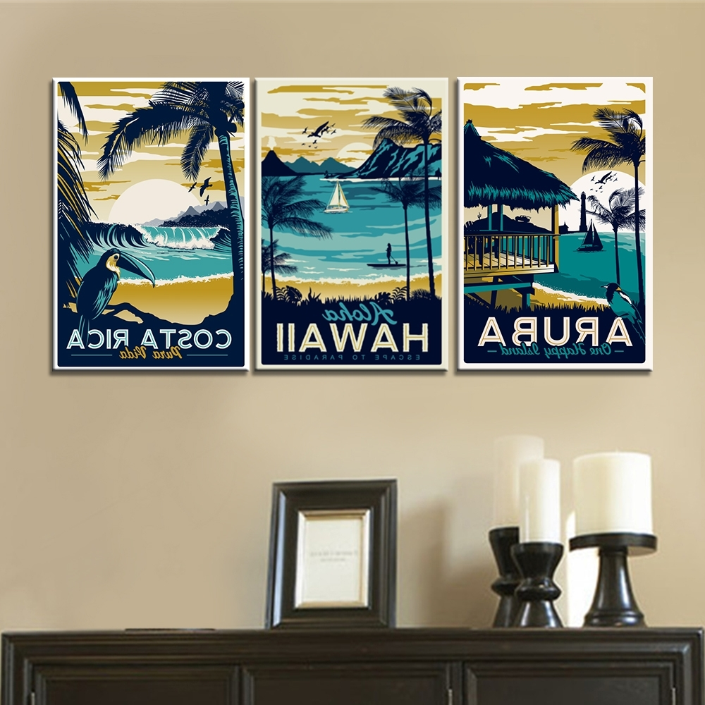 3 Pieces Wall Art Canvas Paintings Hawaii Aruba Costa Rica Regarding Most Up To Date Hawaii Canvas Wall Art (View 3 of 15)
