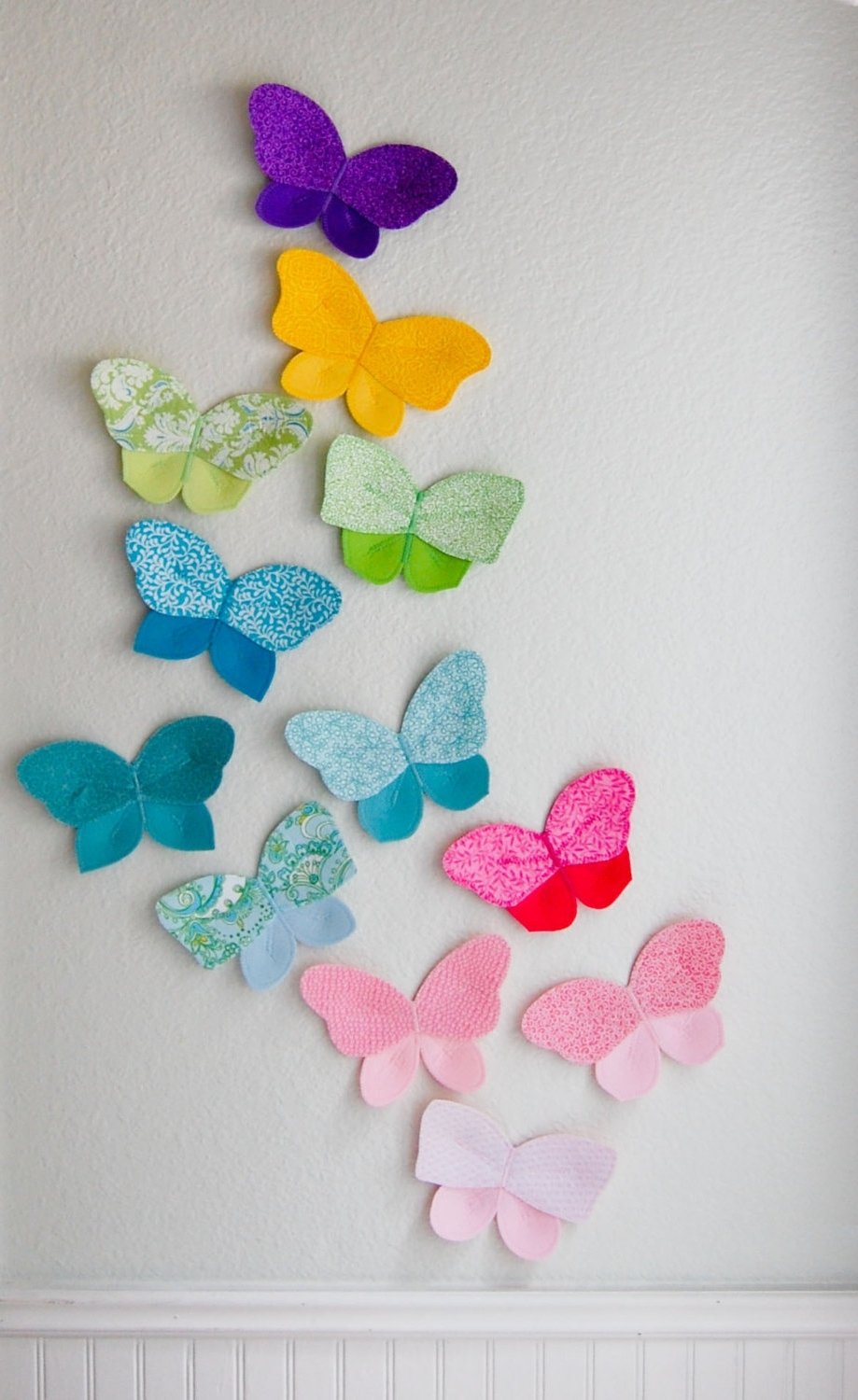 3D Fabric Butterfly, Wall Decor For Girls Room, Nursery Decor Within Favorite Fabric Butterfly Wall Art (View 3 of 15)