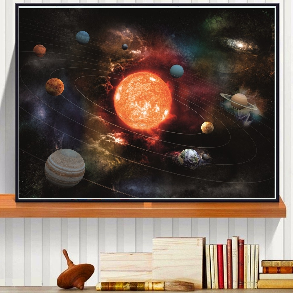 3D Solar System Canvas Art Print Painting Poster Wall Pictures For Intended For Current Silk Fabric Wall Art (View 2 of 15)