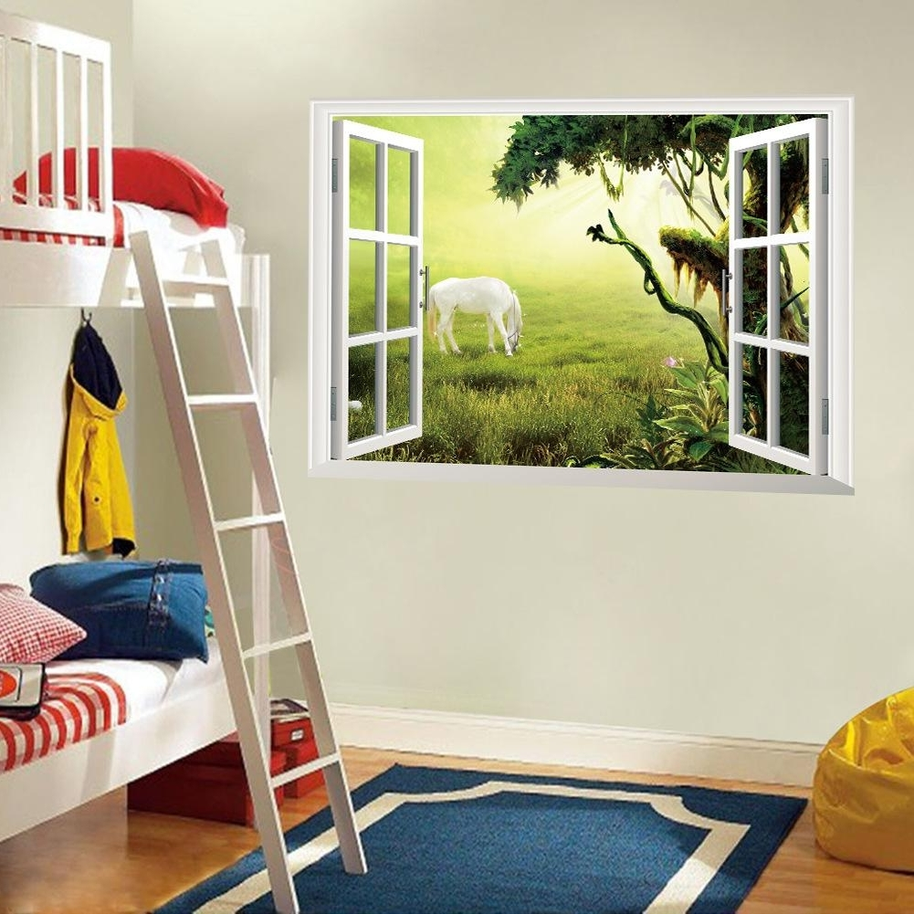 3D Window Wall Art Mural Sticker White Horse On The Grassland Wall Inside Well Liked Adhesive Art Wall Accents (View 2 of 15)