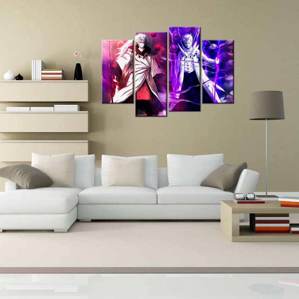 4 Panel Canvas Home Decor Canvas Wall Art Naruto Anime Painting Throughout Famous Murals Canvas Wall Art (Gallery 5 of 15)