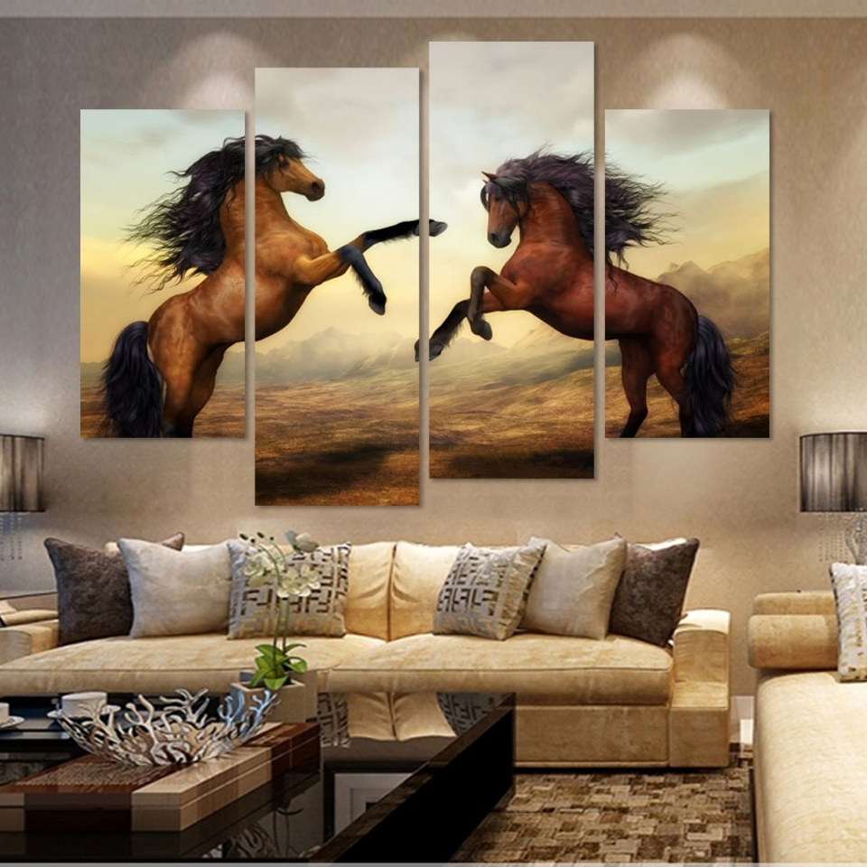 4 Panels Canvas Print Two Horse In Jumping Painting On Canvas Wall Pertaining To Popular Jump Canvas Wall Art (View 1 of 15)