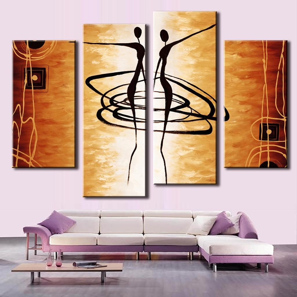 4 Pcs/set Combined Abstract Canvas Art Dancers Canvas Wall Picture With Latest Dance Canvas Wall Art (Gallery 6 of 15)