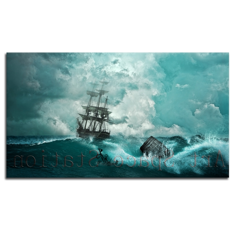 48X27In Large Sailing Ship Storm Oil Painting Print On Canvas With Newest Ocean Canvas Wall Art (View 1 of 15)