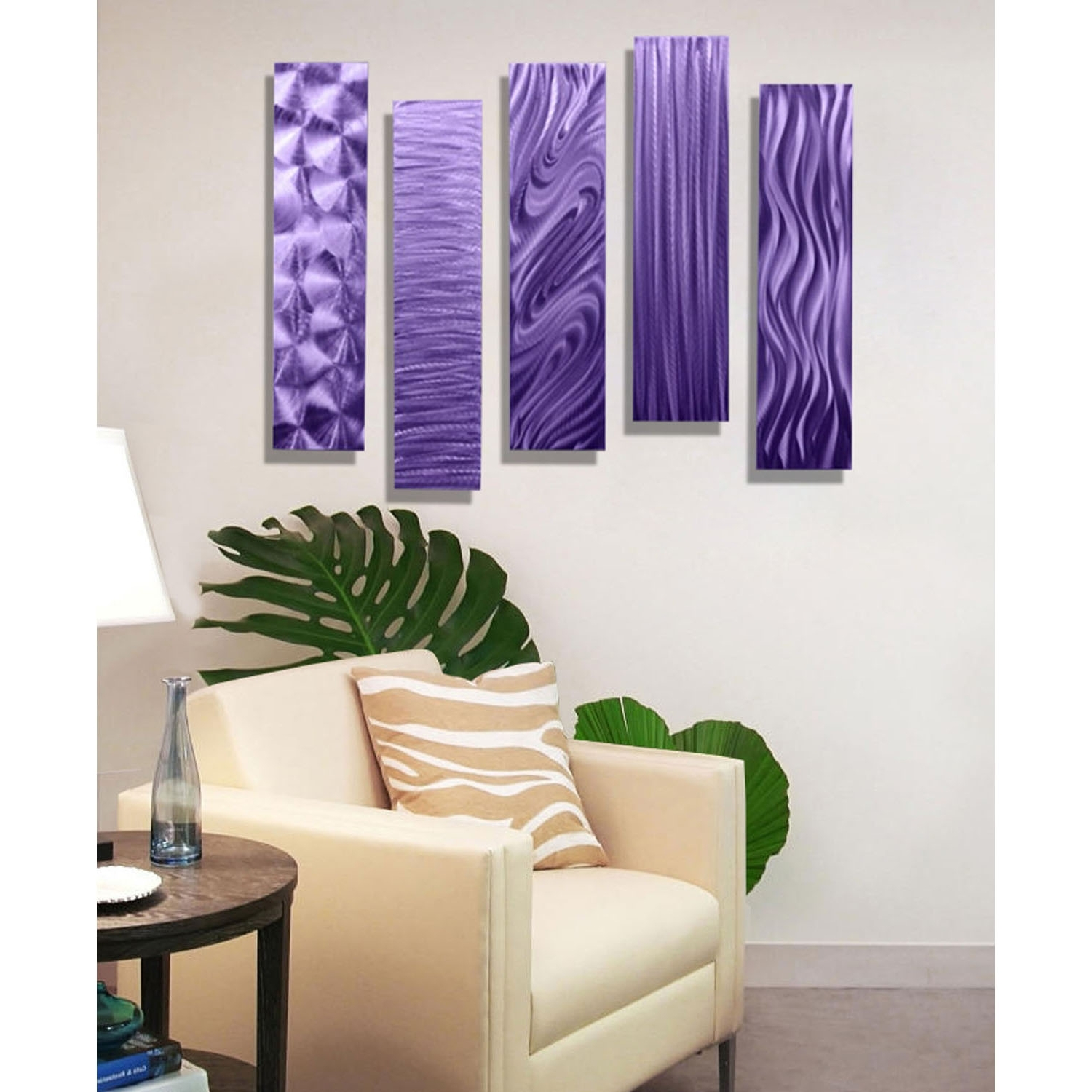 "5 Easy Pieces Purple – Set Of Five 24"" X 6"" Metal Wall Art Accents Throughout Recent Wall Art Accents (Gallery 1 of 15)"