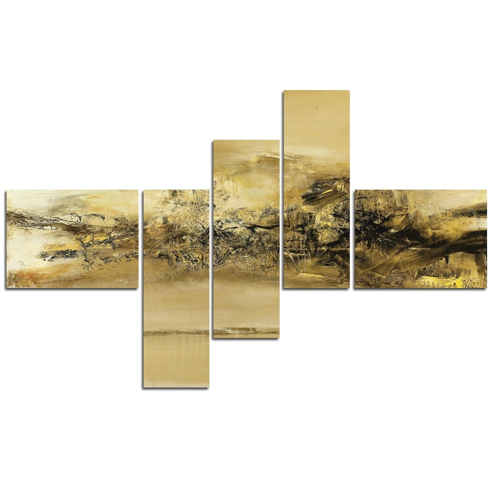 5 Panel Modern Canvas Wall Art Painting Gold Abstract Artwork In Well Known Gold Canvas Wall Art (View 1 of 15)