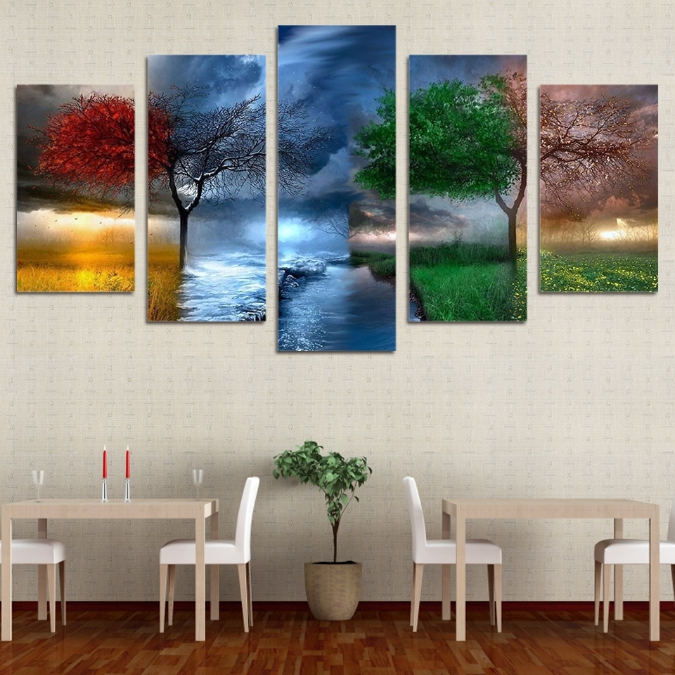 5 Panels Canvas Prints Fantasy Nature 4 Seasons Painting Wall Art For Famous Nature Canvas Wall Art (View 2 of 15)