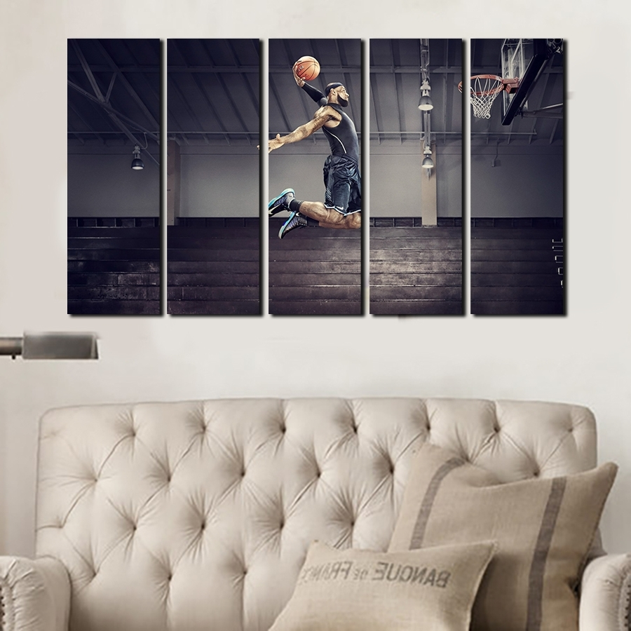 5 Panels For Michael Jordan Artwork Canvas Painting Wall Art Pertaining To Newest Michael Jordan Canvas Wall Art (View 2 of 15)