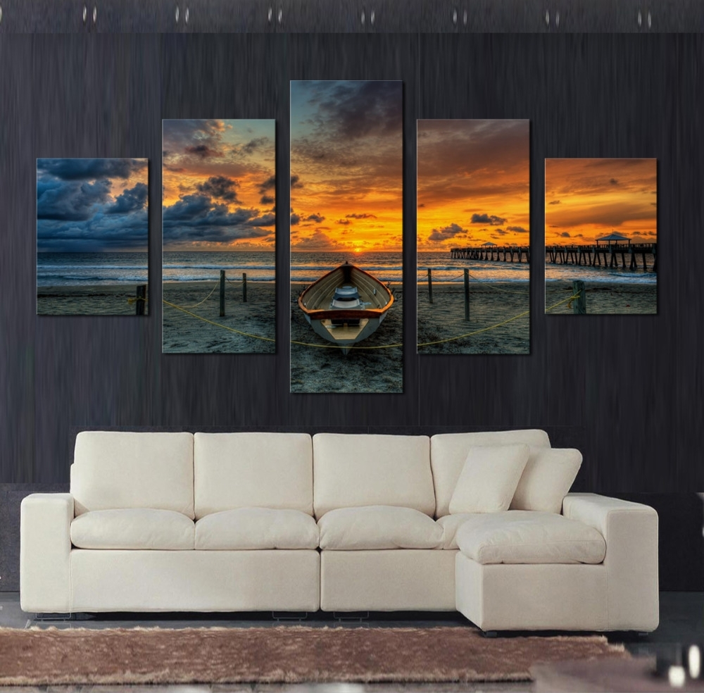 5 Piece Canvas Wall Art Seaview Painting For Living Room Wall Art Intended For Fashionable Living Room Canvas Wall Art (View 2 of 15)