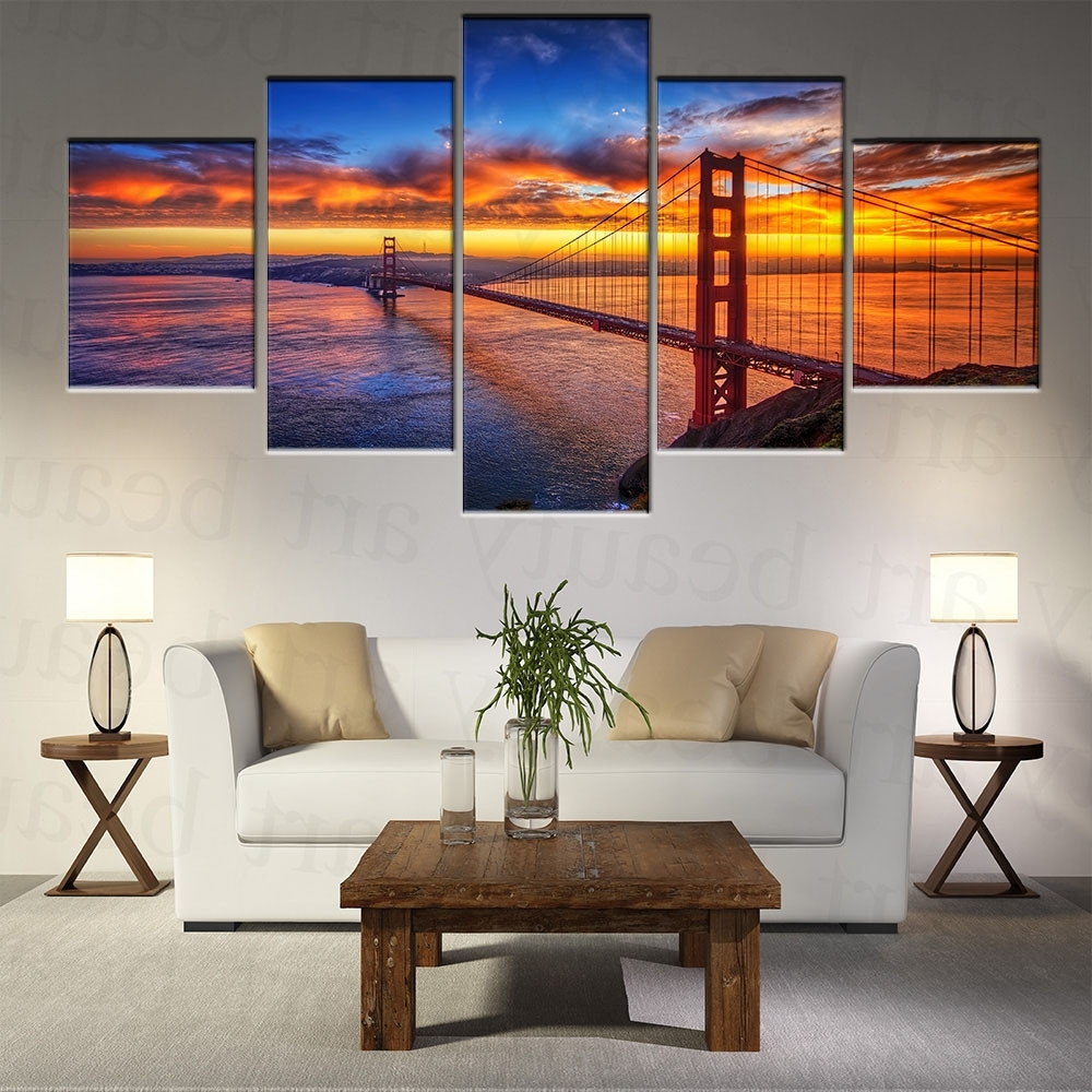 5 Piece Modern Canvas Wall Art Prints Painting California Sky Regarding Famous Golden Gate Bridge Canvas Wall Art (View 9 of 15)
