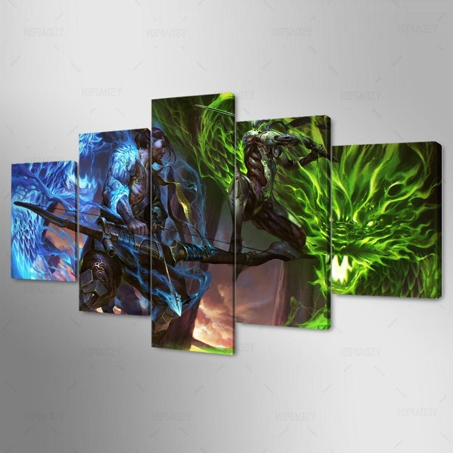 5 Pieces Overwatch Hanzo And Genji Canvas – Awesome Haven Throughout Best And Newest Gaming Canvas Wall Art (View 2 of 15)